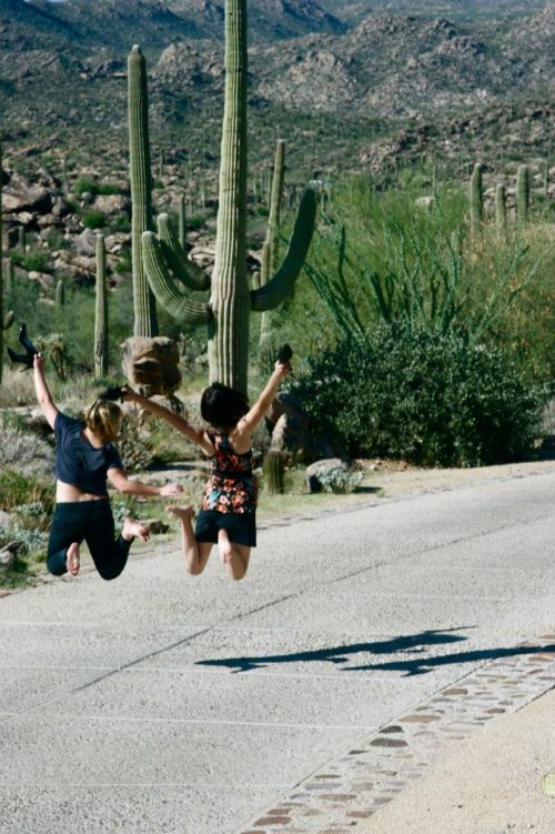 Photo Credit: Jennifer Whitton Here is my friend Elena and me jumping for joy amidst the beautiful Tucson scenery.