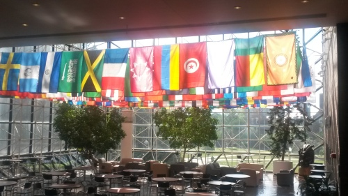 The red flag with the white circle in the middle is the Tunisian flag. It hangs in the U of R just for Anis!