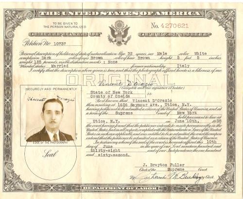 Vincent D'Orazio's certificate of citizenship