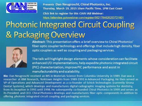 2015 3-19 Photonic Integrated Circuit Coupling  Packaging Overview