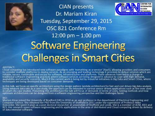 2015 9-29 Dr. Mariam Kiran Software Engineering Challenges in Smart Cities